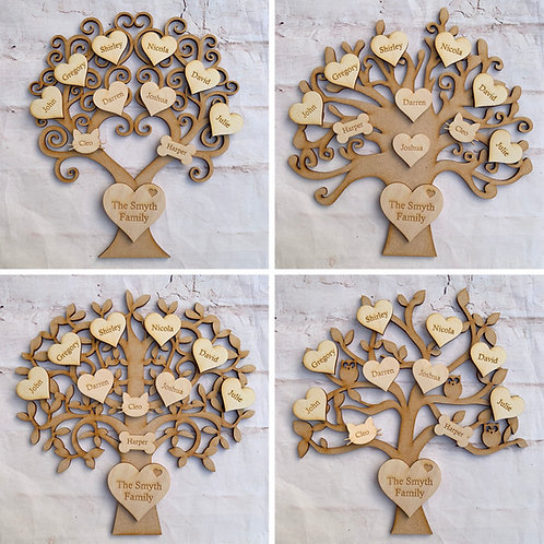MDF Tree with Plywood Engraved Hearts Bold