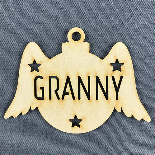 MDF Bauble Wings Granny