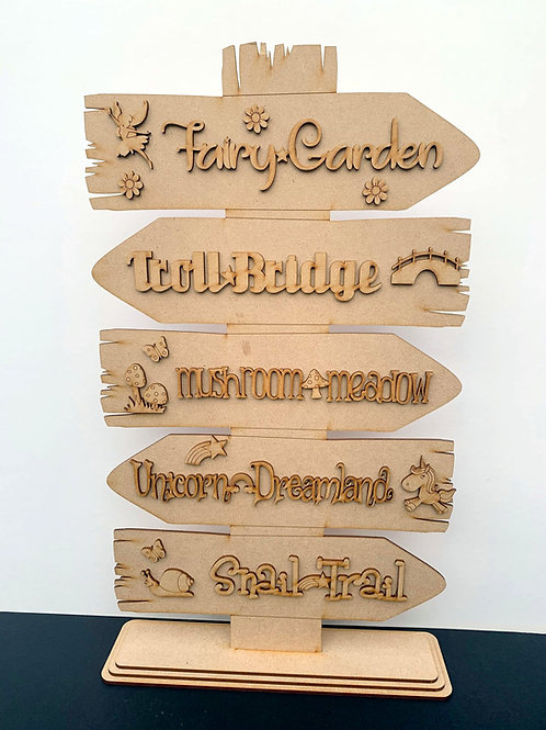 Fairy Garden Direction Sign with Stand