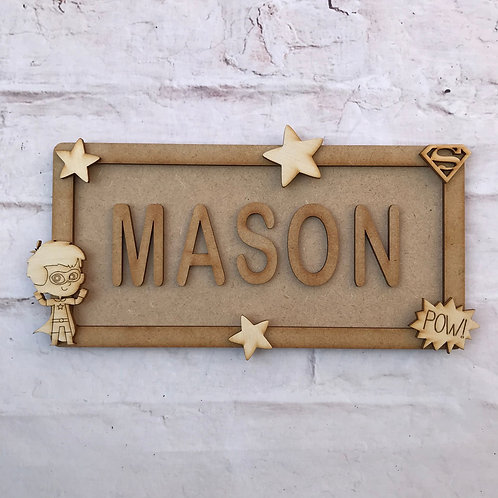 Superhero Boy Theme Room Sign Small (up to 6 letters)