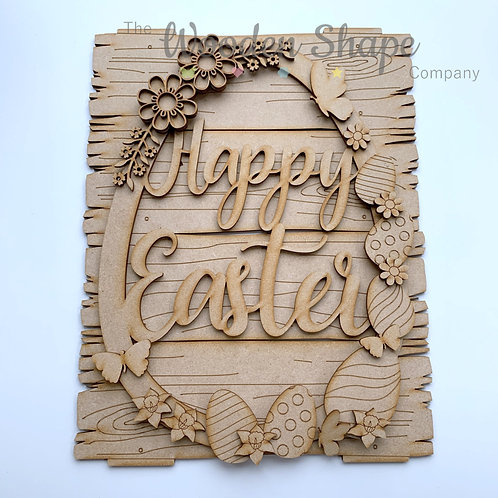 MDF Large Easter Wreath Happy Easter Egg Frame with Plank Plaque