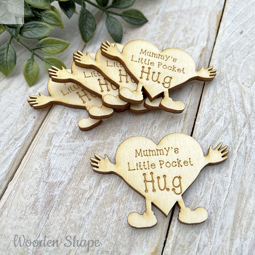 Plywood Engraved Mummy's Little Pocket Hug 5 Pack