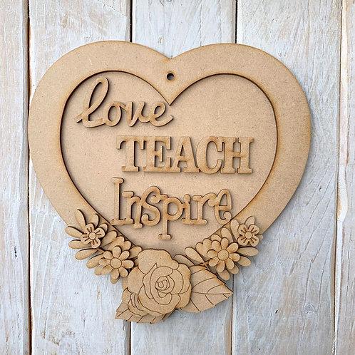 Layered Heart Frame Kit 20cm Love Teach Inspire