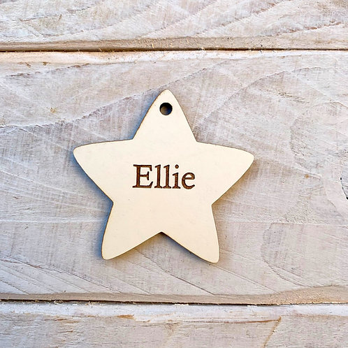5cm Engraved Stone White Star with Hole