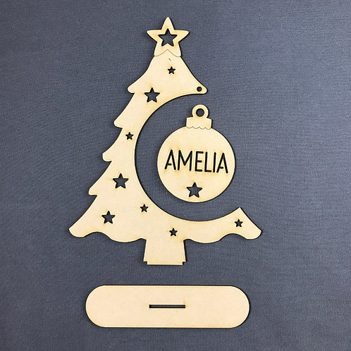 MDF Wooden Bauble Tree Hanger Personalised Bauble