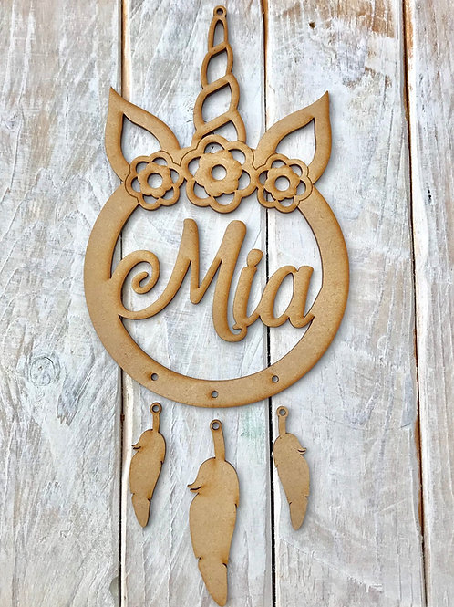 Dream Catcher FLORAL Unicorn Horn Personalised