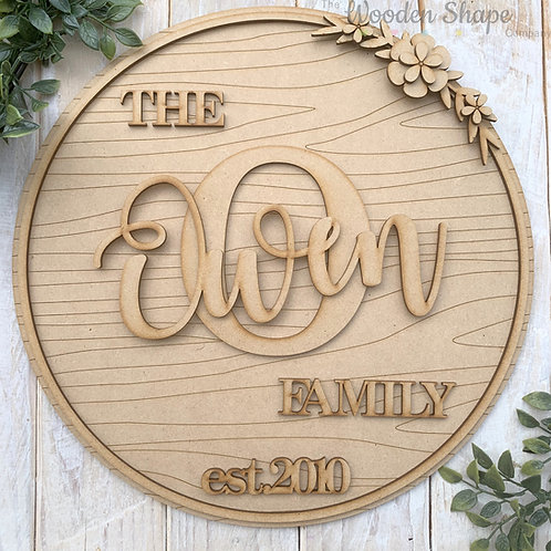 30cm MDF Circle Hoop with Initial & Family Name
