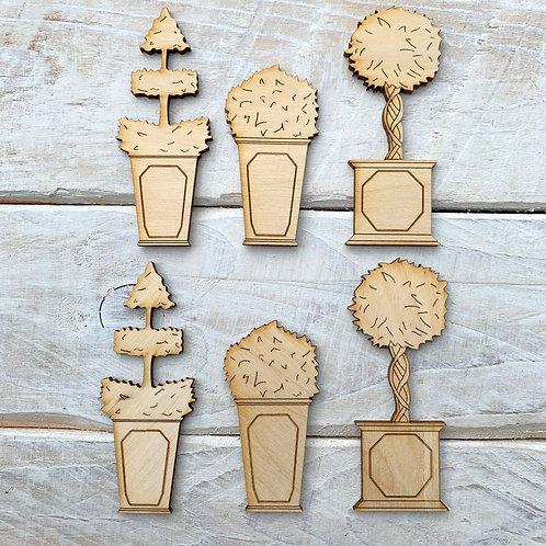 6 Pack Wooden Fairy Miniature Plant pots