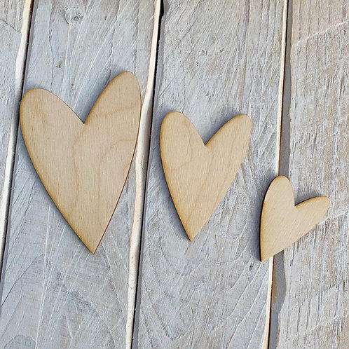 Plywood Long Heart 10 Pack