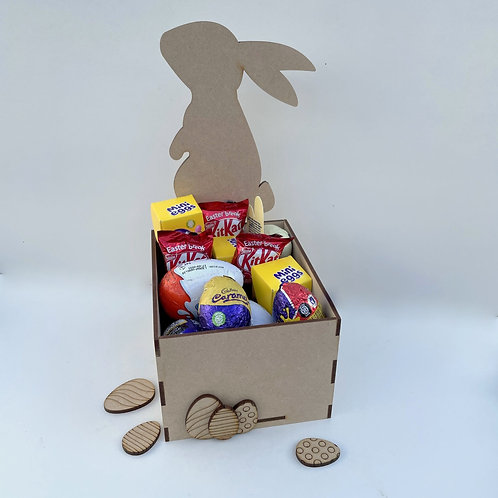 MDF Easter Fillable Treat Box Bunny Side