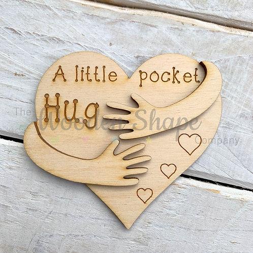 Plywood Engraved Heart Layered Hugging Arms Little Pocket Hug 5 Pack