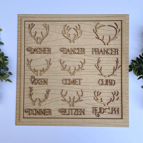 30cm MDF Sign Kit Square Reindeer Names & Antlers SWG