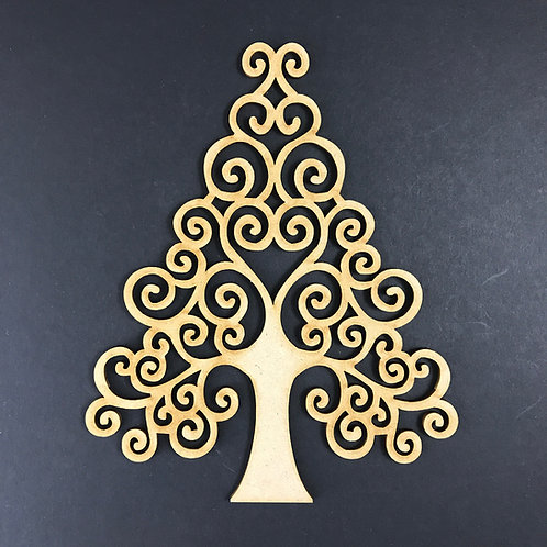 MDF Wooden Tree Code Christmas Swirl