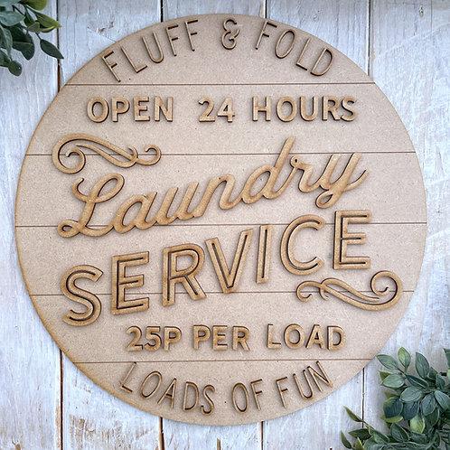 30cm MDF Sign Kit Laundry Service CLI