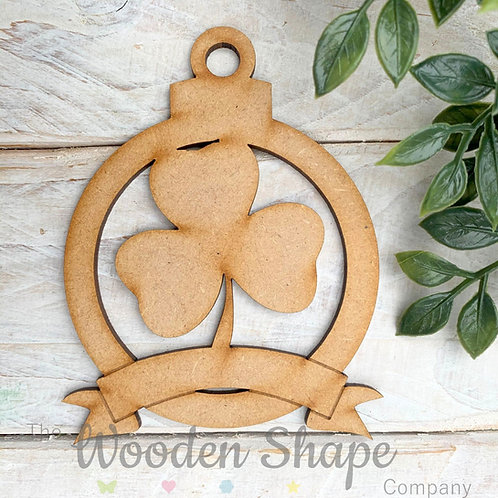 MDF Bauble Ireland Shamrock with Banner