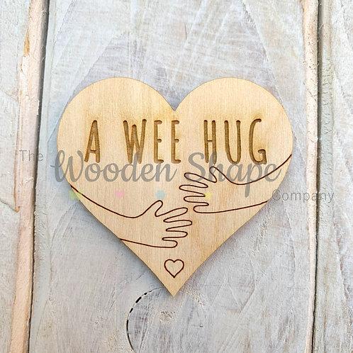 Plywood Engraved Heart A Wee Hug Token or Keyring 5 Pack