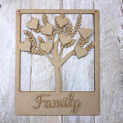 MDF Wooden Tree Code Frame Leaf