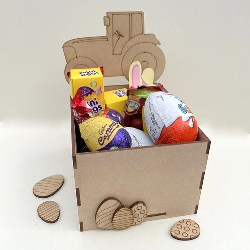 MDF Easter Fillable Treat Box Tractor