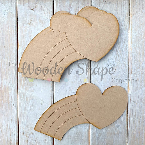 MDF Laser Cut Craft Kit 20cm Rainbow Shooting Heart 5 Pack