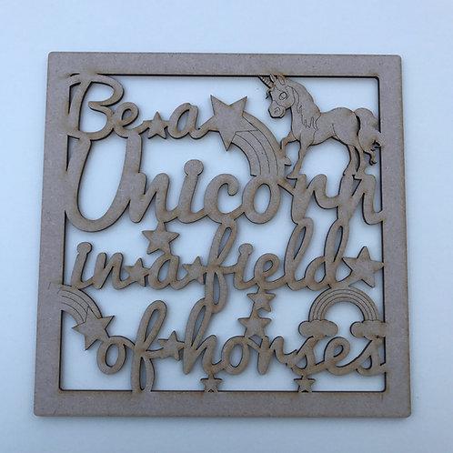 MDF Unicorn Theme Quote Square Frame 5 Designs