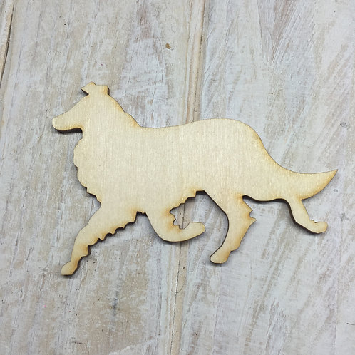 Plywood Collie Running Dog Shape 10 PACK