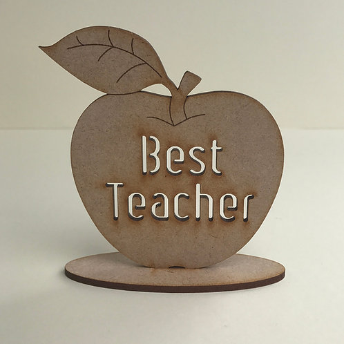 MDF Apple on Stand with Cut Out