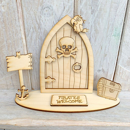Fairy Door on Stand Pirates Welcome