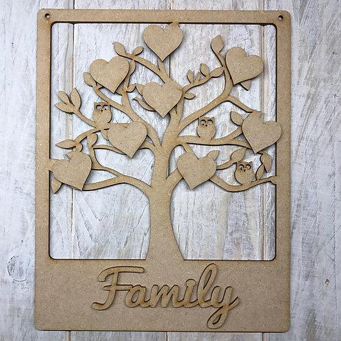 MDF Wooden Tree Code Frame Owl