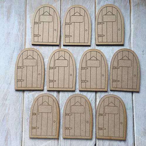 10 Pack MDF Fairy Door Bargain Mini Flat C