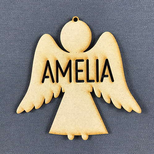 MDF Bauble Angel with Name Added
