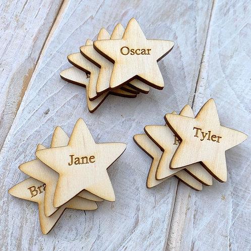 Engraved Plywood Christmas Star Tags