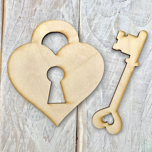 Plywood Heart Lock & Key 10 Pack ( 5 of each )