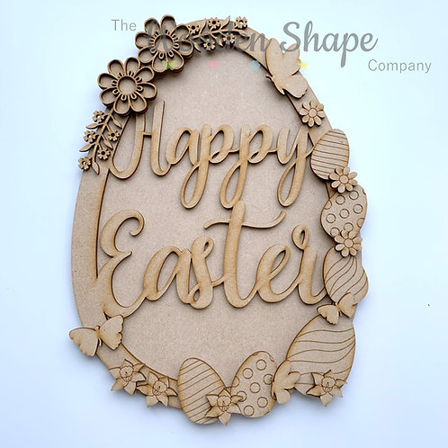 MDF Large Easter Wreath Happy Easter Egg Frame Wreath with Back