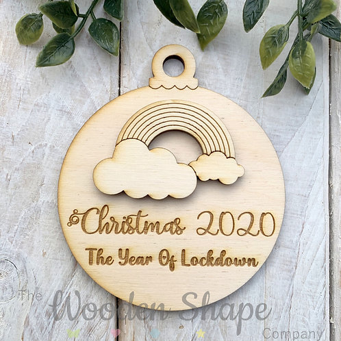 Plywood Christmas Decoration Bauble Lockdown 2020 BLD20
