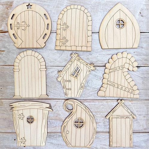 9 Pack Plywood Fairy Doors Assorted Vol.2