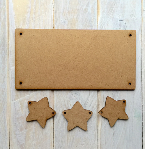 20cm X 10cm Mdf Wooden Plaque With Bunting Stars