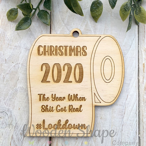 Plywood Christmas Decoration Bauble Lockdown 2020 TRLD20
