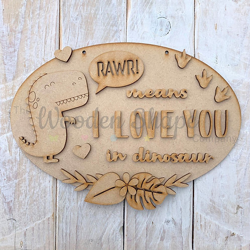 MDF Layered Fun Quote Plaque Rawr I Love You
