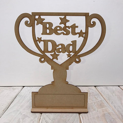 MDF Fathers Day Trophy on Stand