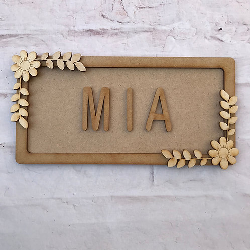 Flower Theme Room Sign Small (up to 6 letters)