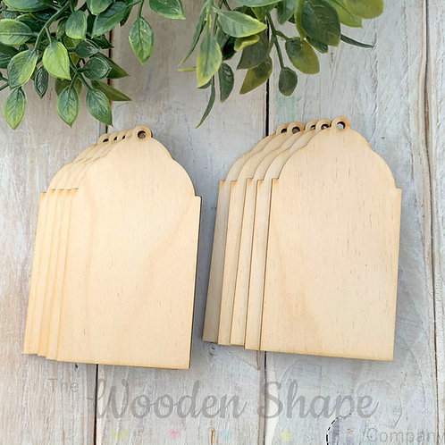 10 Pack Birch Plywood Gift Tags Rectangle Ornate