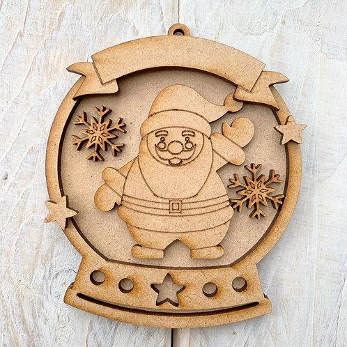 Layered Snow Globe Bauble Santa