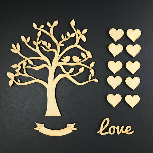 MDF Wooden Tree Code Love Birds Kit 2 Size Options