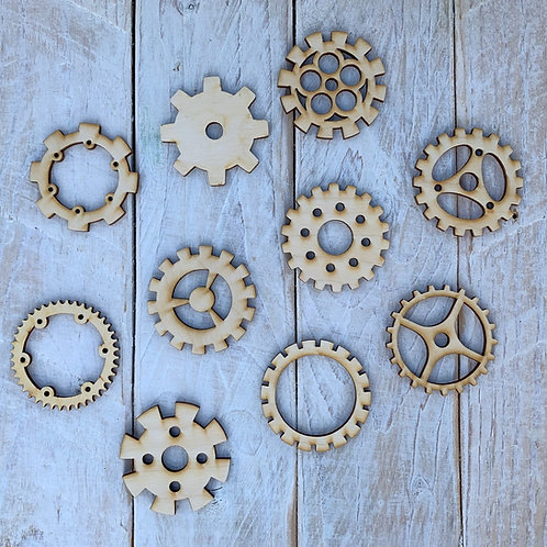 Plywood Assorted Detailed Cogs 10 Pack