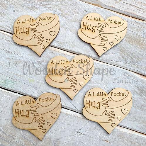 Plywood Engraved Heart Hugging Arms Little Pocket Hug 5 Pack