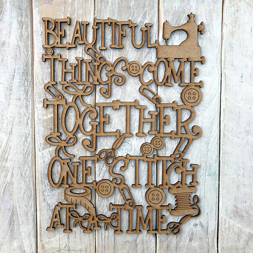 MDF Wordart Sign Beautiful Things One Stitch At A Time