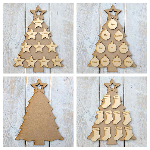 MDF Christmas Tree B with Plywood Engraved Name Tags