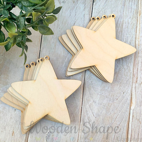 10 Pack Birch Plywood Christmas Tags Stars