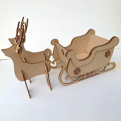 MDF Layered Sleigh with 2 Reindeer - Large Size
