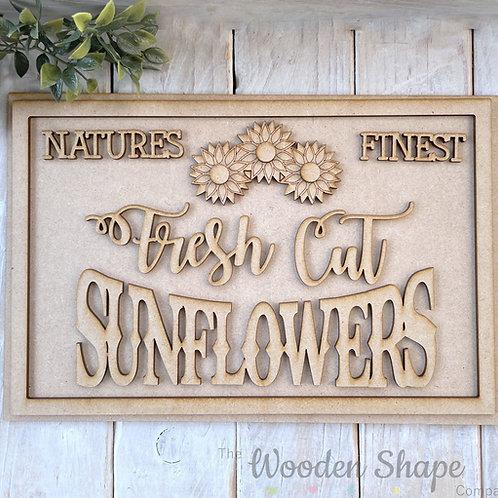 30cm MDF Sign Kit Fresh Cut Sunflowers RP